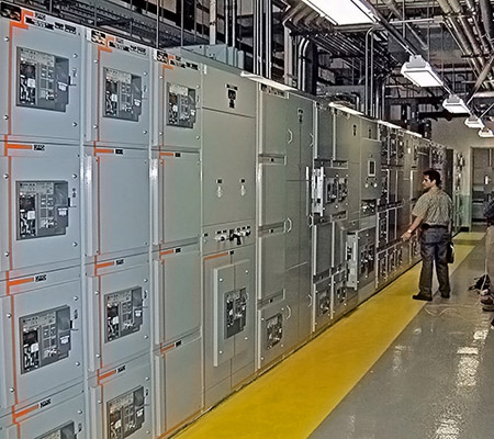 A picture of a clean switchgear. Picture 6 rows of switchgear like this