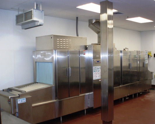 The Hilton Inn had a large automated dishwasher to handle the banquet crowd
