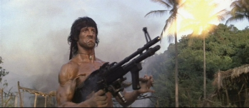 Rambo firing an M60 Machine Gun