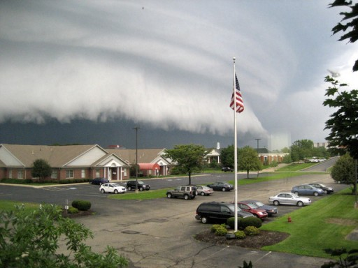 It looked similar to this wall cloud, only the front of it was rotating horizontally
