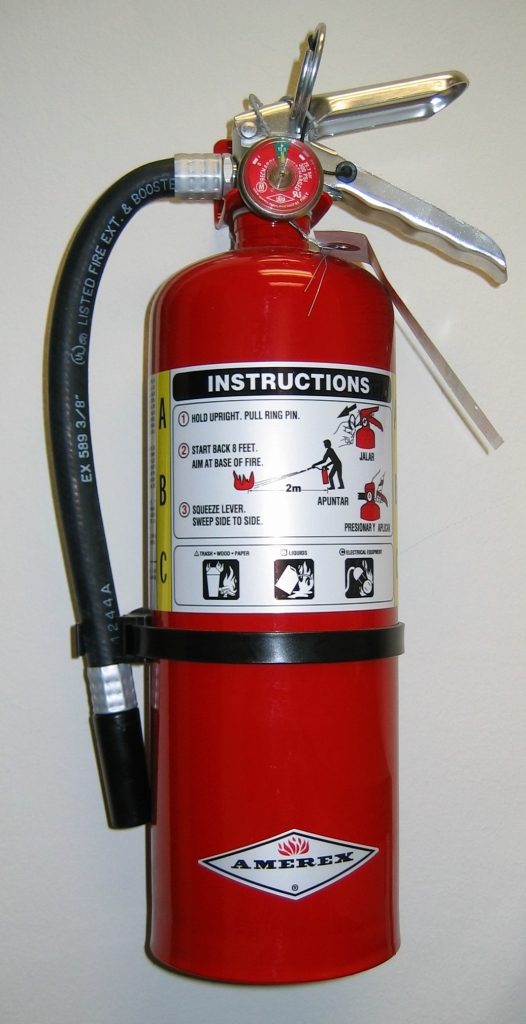 The size fire extinguisher you would find in your home