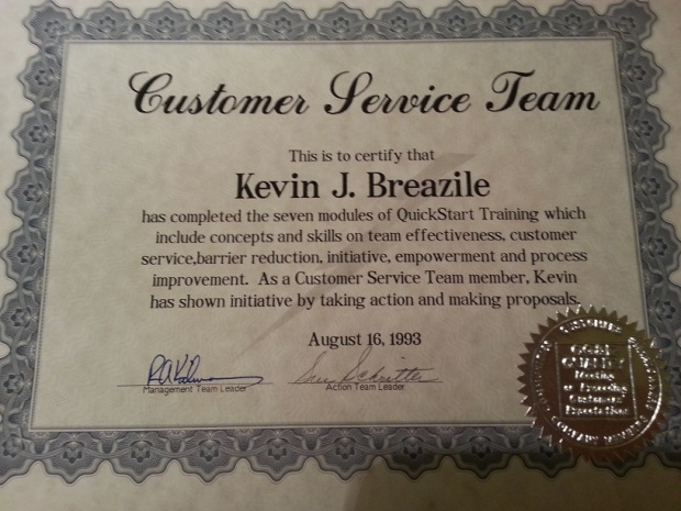 My Customer Service Team Certificate.  This made me official!