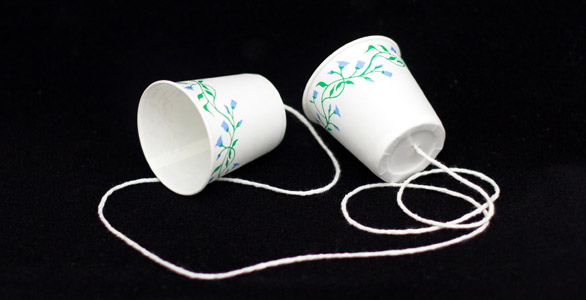 Phone made from paper cups
